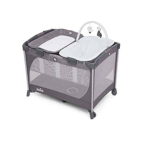 Joie Camp Cot Commuter Change And Snooze Linen Grey Baby