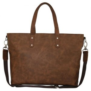 Tan Laminated Shopper Bag