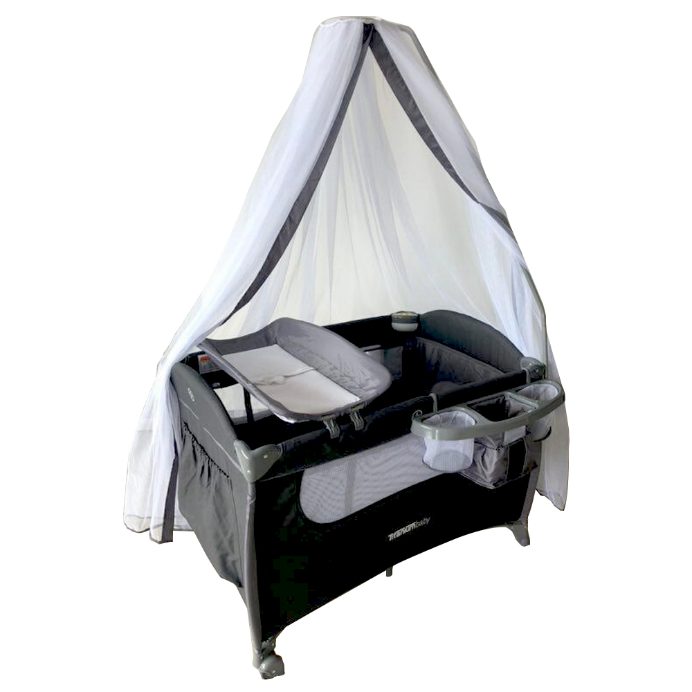 Titanium Baby Camp Cot Ruby Charcoal Baby Boom