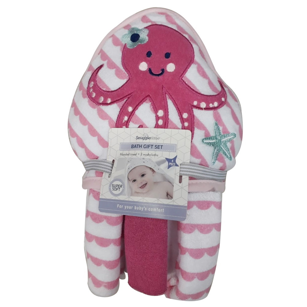 Snuggletime Octopus Hooded Towel And 3pc Washcloths Set