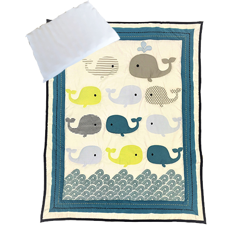 Snuggletime Quilt Set 3pc Blue Whale Baby Boom