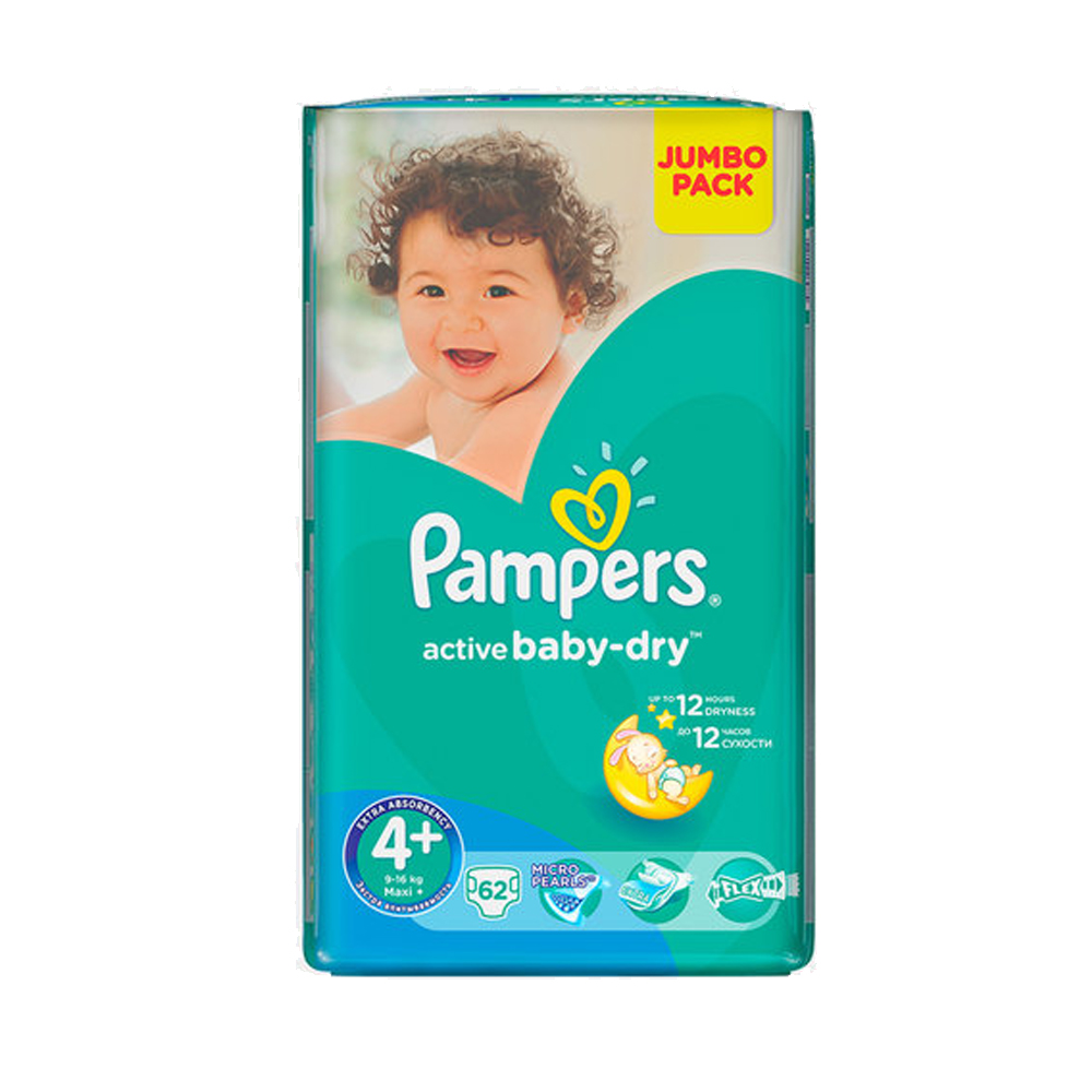 PAMPERS ACTIVE BABY JUMBO PACK MAXI+ 62'S - Baby Boom